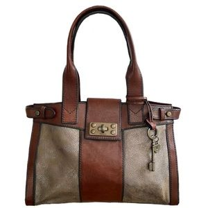 Fossil Long Live Vintage Reissue Tote Pewter Brown